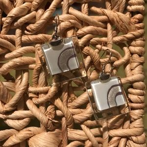 Silver and Square Glass Geometric Earrings